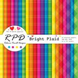 Plaid gingham check bright rainbow colours digital paper s