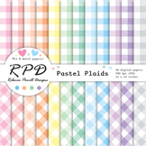 Plaid gingham check pastel colours & white digital paper s