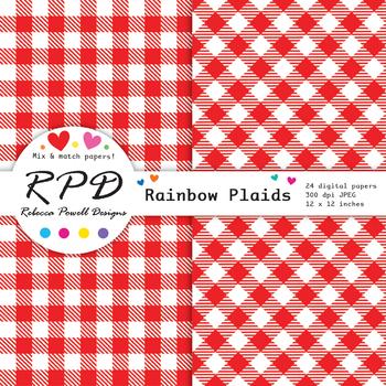 Plaid gingham check rainbow colours & white digital paper set/ backgrounds