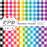 Plaid gingham check rainbow colours & white digital paper