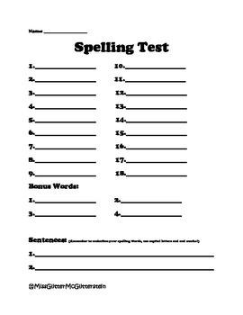 Plain 18 Word Spelling Test