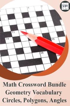 Plain Geometry Crossword Bundle - Circles, Polygons & Geometry Vocabulary