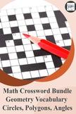 Geometry Crossword Bundle - Circles, Polygons, Angles & Geometry Vocabulary