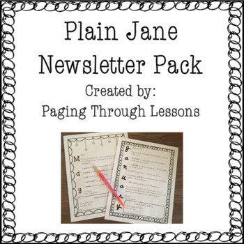 Editable Newsletters ~ Plain Jane Edition