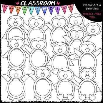 Plain Penguins - Clip Art & B&W Set