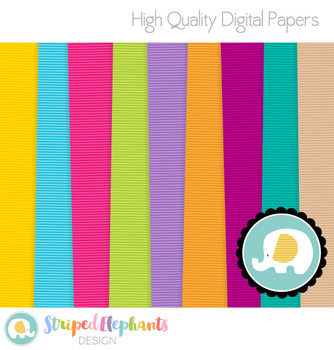 Plain Stripe Digital Papers Bright