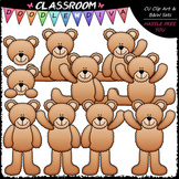 Plain Teddy Bears - Clip Art & B&W Set