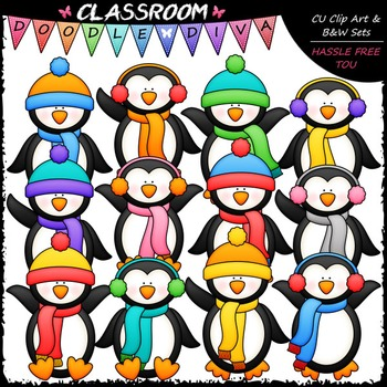 Plain Winter Penguins Clip Art - Winter Clip Art & B&W Set