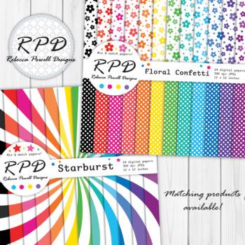 Plain multi-coloured rainbow digital paper set/ backgrounds