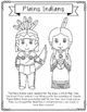 Plains Indians Coloring Page Activity and Poster, Native A