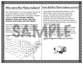 Plains Indians Interactive Notebook