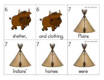 Plains Indians, Native Americans, Fall, Thanksgiving Sentence Scramble 2
