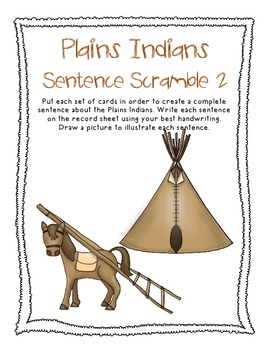 Plains Indians, Native Americans, Fall, Thanksgiving Sentence Scramble 2