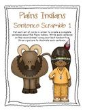 Plains Indians, Native Americans, Fall, Thanksgiving Sentence Scramble 1