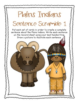 Plains Indians, Native Americans, Fall, Thanksgiving Sentence Scramble 1