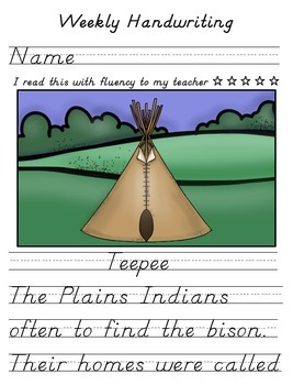 Plains Indians Teepee - Handwriting w/o Tears, D'Nealian & Zaner Bloser Style
