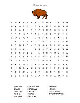 Plains Indians Lakota Word Search--Essential Vocabulary!