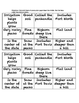 Plains & Mountain sort worksheet