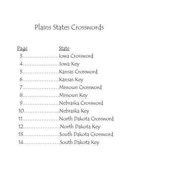 Plains States Crossword Puzzles