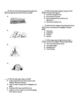 Plains and Eastern Woodlands Indians Test