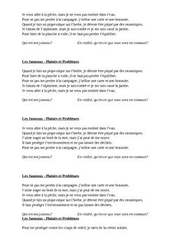 Plaisirs et problèmes (Pleasures & problems in French) Jumeaux Speaking activity