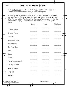 Plan A Birthday Party (PBL)