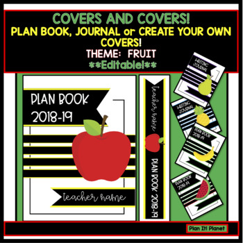 binder covers plan book journal or create your own fruit themed