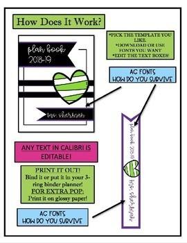 BINDER COVERS-Plan Book, Journal, Portfolio Etc.! Hearts! Themed **EDITABLE*