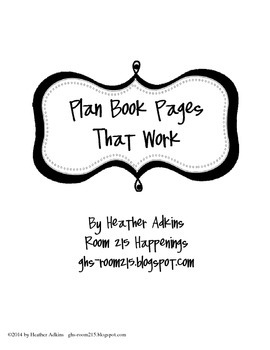 Plan Book PagesThat WORK!