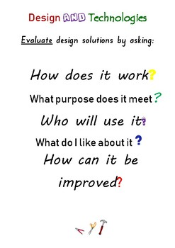 Plan Create Evaluate - Questions to ask in the design and technology process
