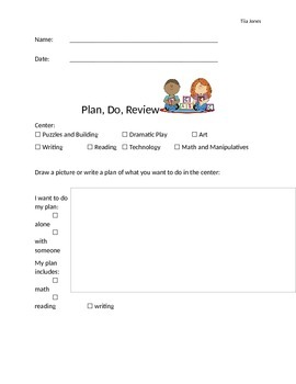 Plan Do Review Form Editable