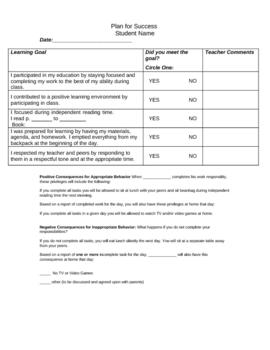 Plan For Success- Student Behavior Plan