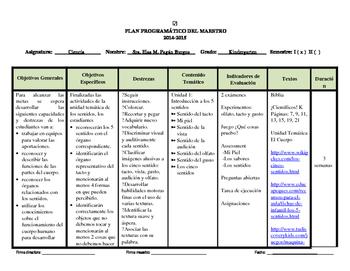 Plan Programatico de ciencia- Science Program Plan (Outline)