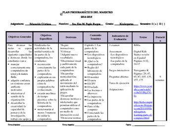 Plan Programatico de Educacion Cristiana