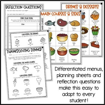 Plan Thanksgiving Dinner - Project Based Learning Math Activity