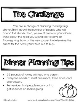 Plan Thanksgiving Dinner: Math, Graphic Organizers, Food Prices, Challenges