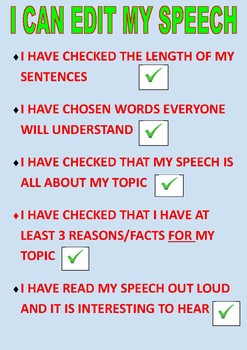 Plan, Write, Edit a Speech classroom poster for Grades 1, 2 & 3