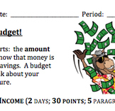 Plan Your Overall Personal Budget Project