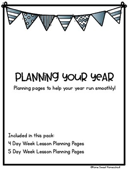 Plan Your Year Lesson Planning Templates