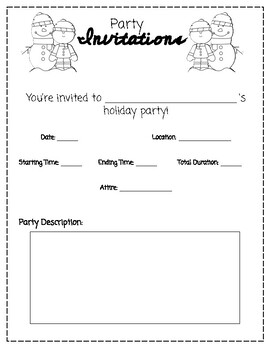 Plan a Holiday Party Math project (money, multiplication)