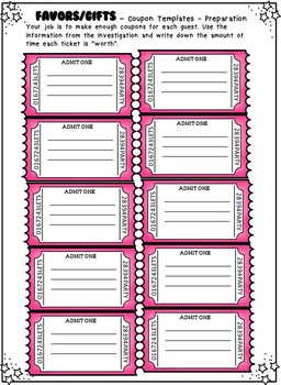 Plan a Morning Tea, Party or Celebration for Parents or Helpers Math Project US