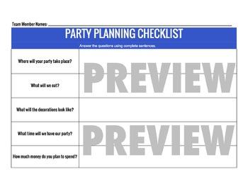 Plan a Party! Economics & Money Project- Wants vs. Needs & Budgeting Activity