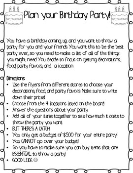 Plan a Party- End of the year math project