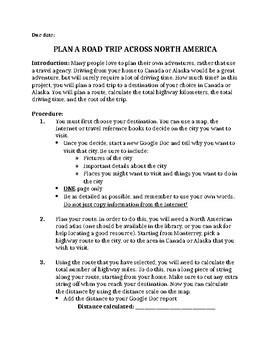 Plan a Road Trip - Math Project