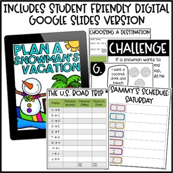 Winter Math Activities - Plan a Snowman's Vacation Project