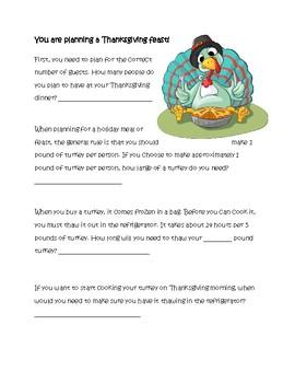 Plan a Thanksgiving Feast Math Packet