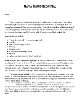 Plan a Thanksgiving Meal - Math -  Project Based Learning with Rubric!