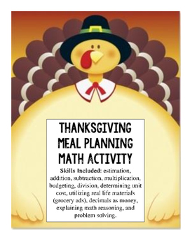 Plan a Thanksgiving Meal - Math -  Project Based Learning