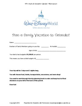 Plan a Trip to Orlando: Adding, Subtracting, Multiplying, and Dividing Decimals