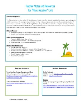 Plan a Vacation - Project Based Learning Using MS Word, Excel & Publisher
